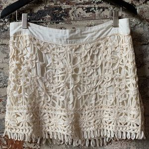 Anthropologie Farm Rio White Mini Skirt